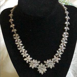 Flower Cubic Zirconia Statement Necklace Set